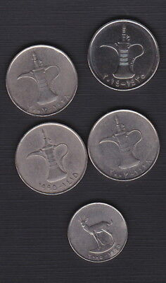 United Arab Emirates - BULK LOT OF CURRENT COINS-1 Dirham (x4) & 25 fils (x1)
