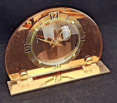 Vintage Art Deco Smiths Electric Peach Mirror Glass And Brass Clock