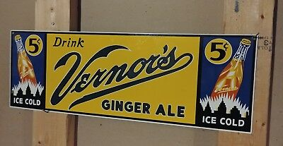"Vintage Vernor's Ginger Ale Porcelain Enamel Sign 7.19"" x 21"" --Excellent Cond--"