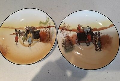 """2 x  5.5""""  ROYAL DOULTON SAUCERS FROM THE COACHING SERIES DIFFERENT  SCENES"""