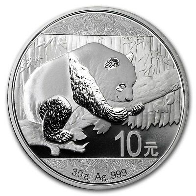 2016 China Silver Panda (30 g) 10 Yuan - BU in Original Capsule. 999 Fine