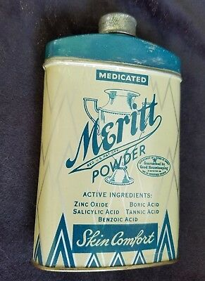 Old Advertising Tin Meritt Powder Meritt Chemical Co Greensboro NC Boric Acid