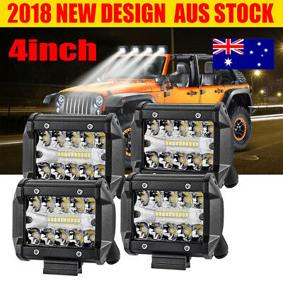4x 4inch CREE LED Work Light Bar Spot Flood OffRoad Fog Driving 4WD 4x4 Reverse