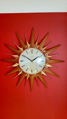 Retro Metamec Starburst Sunburst Wall Clock Teak & Brass 60s 70s Approx 18""