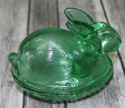 Candy dish bunny glass basket weave green clear nesting bowl