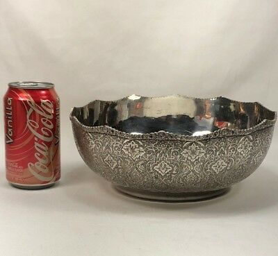 Antique Persian Solid Silver Hand Chased Large Centerpiece Bowl SIGNED 650g