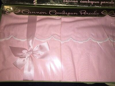 Vintage Pink Cannon Combspun Percale Pillowcase Pair (2) NOS All Cotton New