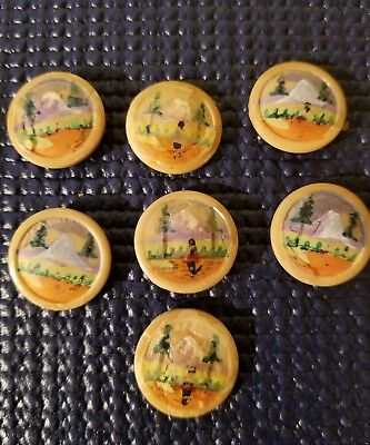 """Vintage 3/4""""  Hand Painted Picture Button lot of 7"""
