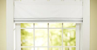 Just Born Window Valance, Grey/White Fits Most Standard Windows 54 in by 15 in