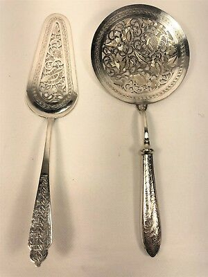 Pair Antique Persian Solid Silver Hand Chased Pierced Food Servers SIGNED 240g