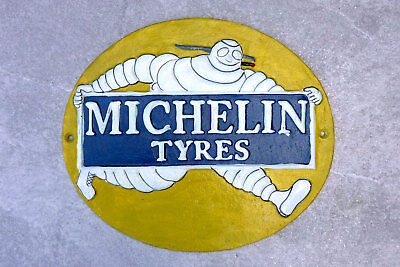 MICHELIN Sign 30cm Cast Iron Bibendum 1910 Repro Wall Plaque Garage Tyre