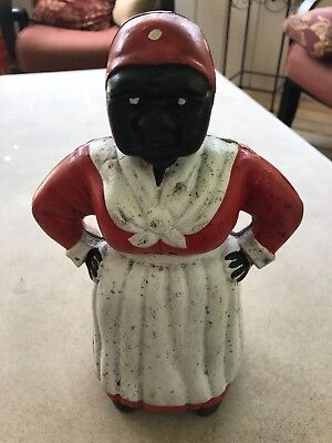 Mammy Cast Iron Bank vintage with original paint 12in tall