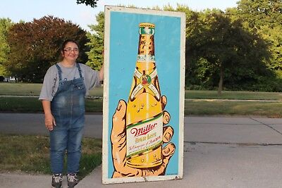 "Large Rare Vintage 1940's Miller High Life Beer Bottle Gas Oil 70"" Metal Sign"