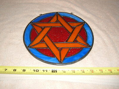 "STAINED GLASS ""STAR OF DAVID""  SUN CATCHER   9"" round"