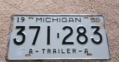 license plate mich 1958 trailer