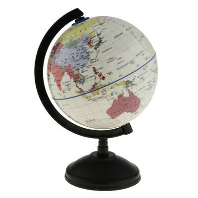 14cm World Globe Map Ocean Geography Educational Toy Gift Swivel Stand White