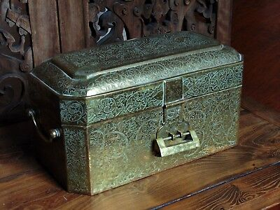 Vintage Chinese Incised Brass Jewelry Table Casket & Cover With Lock