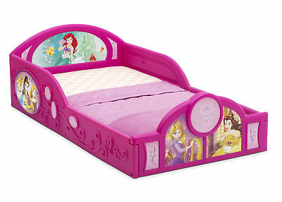 Disney Princess Deluxe Toddler Bed with Attached Guardrails | Cinderella | Belle