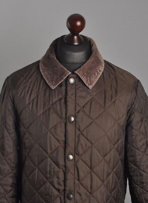 Men's BARBOUR Liddesdale Genuine Quilted Brown Cord Collar Jacket Coat Size S