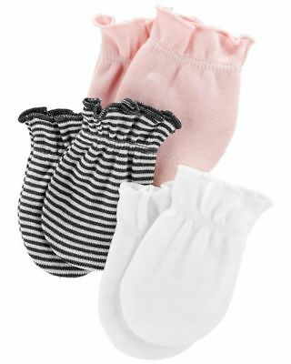 New Carter's Girls 3 Pack Baby Mittens 0-3 months NWT 100% Cotton Pink White