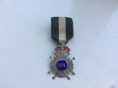 nice old solid silver masonic military or other medal and ribbon BHL