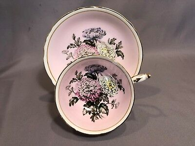 Paragon Chrysanthemum Mums Pink Floral Cup & Saucer HM Queen Mary Double Stamp
