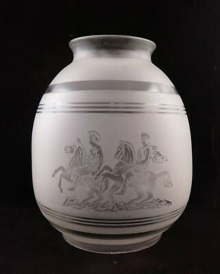 """Large Vintage Frosted Etched Roman Greek Scene w/Horses Lamp Shade 10 1/2"""""""