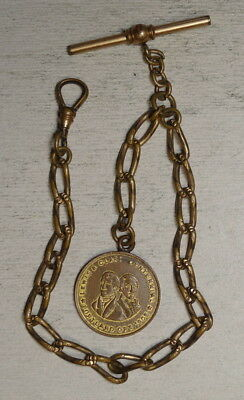 Watch Fob and Chain, 1905 Lewis & Clark Exposition Official Souvenir    0809-08