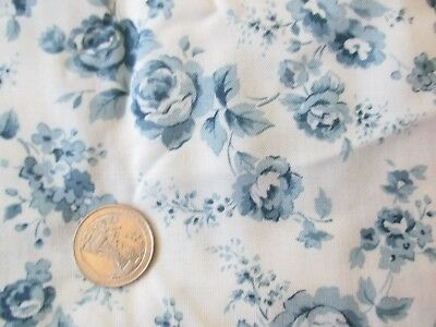 COUNTRY GIRL Vintage BLUE FLOWERS On WHITE 1980's COTTON BLEND Fabric-over 2 yd