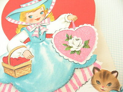 Glitter Girl & Kitten Die Cut Hearts Vintage Valentine 50s Greeting Card VTG Cat