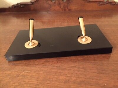 Firestone MidCentury Black Onyx ? Dual Pen Holder & Base Schaeffer Parker Akron