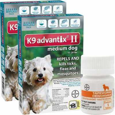 12 MONTH K9 Advantix II TEAL for Medium Dogs (11-20 lbs) + Tapeworm Dewormer for