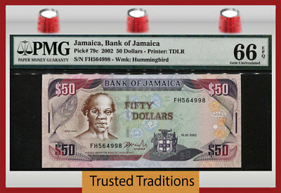 "TT PK 79c 2002 JAMAICA BANK OF JAMAICA 50 DOLLARS ""SAM SHARPE"" PMG 66 EPQ GEM!"