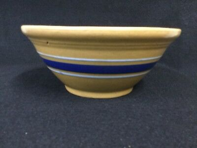 Vinatge Yellow Ware Mixing Bowl-Yellow with Blue and White Stripes