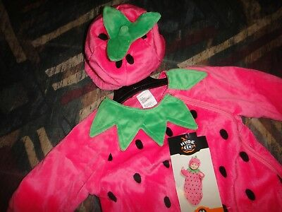 NWT infant baby girl 0 3 6 months pink Strawberry bunting hat costume Halloween
