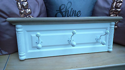 Lovely Antique White Wooden Shabby Chic Three Hook Wall Hanging Coat Rack BNWT