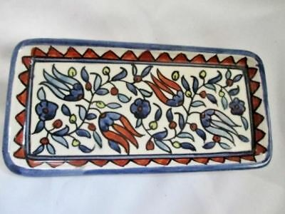 Signed JERUSALEM Pottery Ceramic Hand Painted Ethnic Floral Trinket TRAY Jewelry