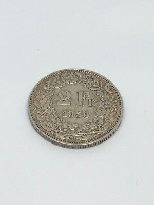 Switzerland Silver Coin 2 Francs 1955