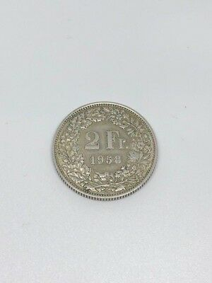 Switzerland Silver Coin 2 Francs 1958