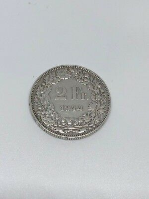 Switzerland Silver  Coin 2 Francs 1944 Very Nice