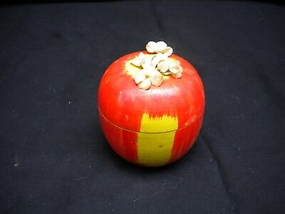 Wooden Red Apple with dishes from Japan - Child's Vintage Toy