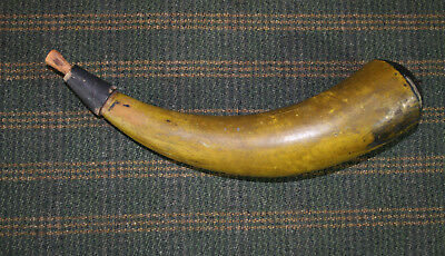 18th Century Period Ochre/Black Painted Powder Horn