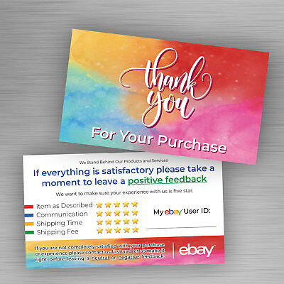 100 ebay Seller THANK YOU Business Cards 5 Star Feedback Rating Colorful Design