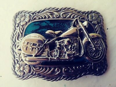 Harley Davidson Style Biker Belt Buckle, silver tone w turquoise enemal inlay