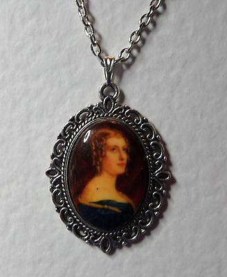 """1.5"""" decal CAMEO LADY BLUE VELVET DRESS VICTORIAN STYLE DK SILVER PLATED PENDANT"""