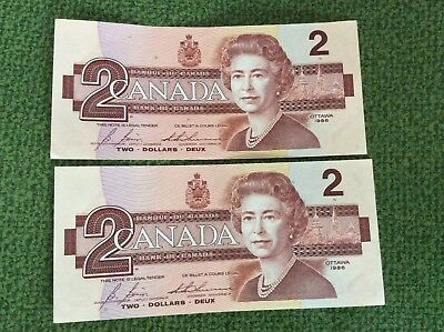 TWO1986 CANADIAN CONSECUTIVE NUMBERS $2.00 BILLs- CBJ5509294-CBJ5509295