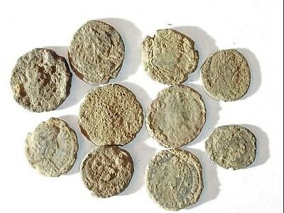 10 ANCIENT ROMAN COINS AE3 - Uncleaned and As Found! - Unique Lot X21123