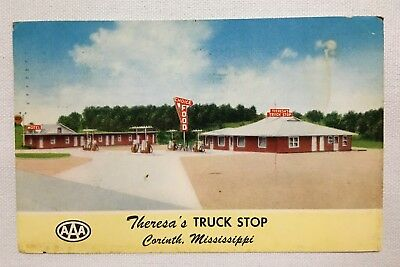1961 Mississippi MS Corinth, Theresa's Truck Stop, AAA Vintage Old Postcard
