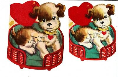 Two bi-old Fuzzy Red Hearts, with Puppies. Whitman Valentine Day Cards.