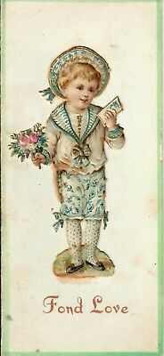 Victorian Boy, holding Flowers & Card. Bi-fold with German Chromo Attached Card